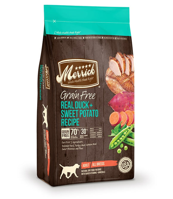 Merrick Grain Free Real Duck & Sweet Potato Recipe Dog Food 12 Lbs