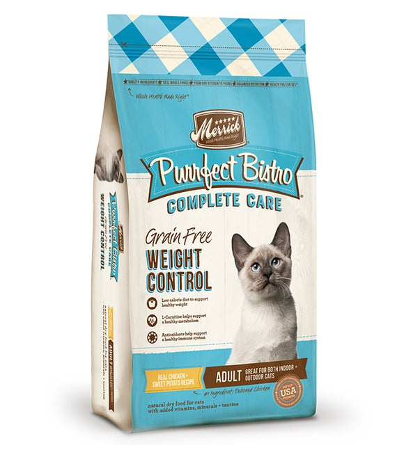 Merrick Purrfect Bistro Complete Care Grain Free Weight Control Real Chicken & Sweet Potato Recipe Cat Food 7 Lbs