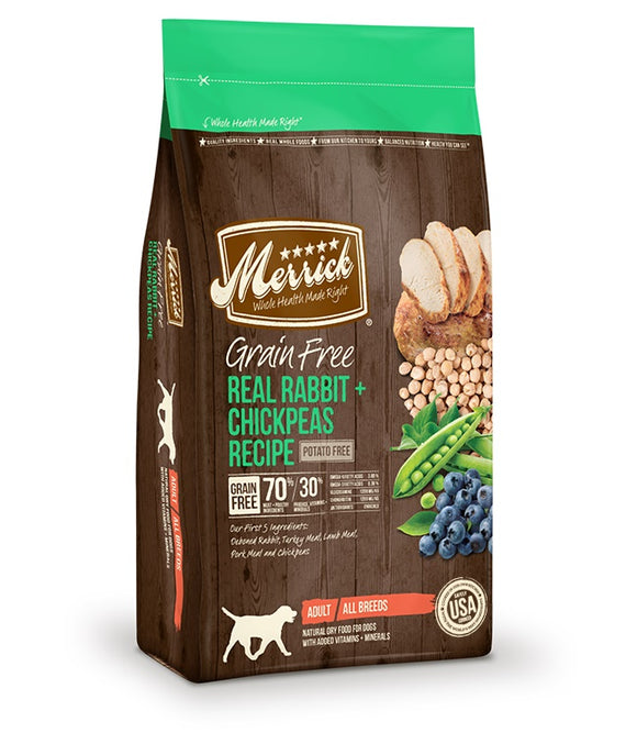 Merrick Grain Free Real Rabbit & Chickpeas Recipe Dog Food 22 Lbs