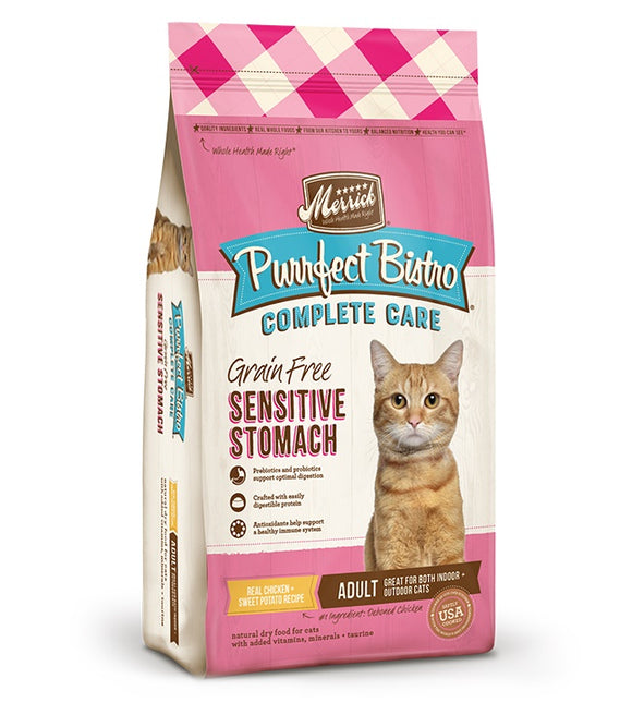 Merrick Purrfect Bistro Complete Care Grain Free Sensitive Stomach Real Chicken & Sweet Potato Recipe Cat Food 12 Lbs