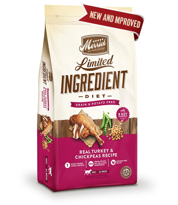 Merrick Limited Ingredient Diet Grain Free Real Turkey & Chickpea Recipe Dog Food 12 Lbs
