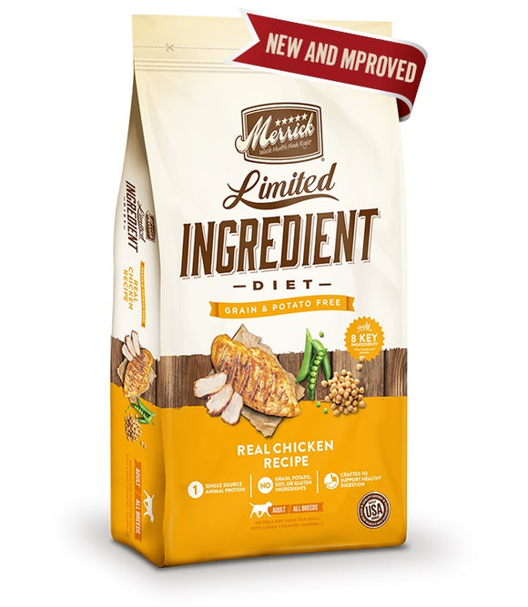 Merrick Limited Ingredient Diet Grain Free Real Chicken Recipe Dog Food 4 Lbs