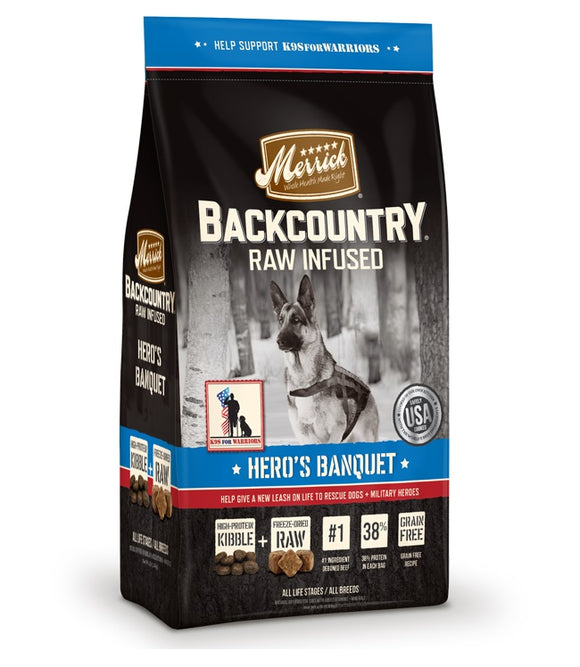 Merrick Backcountry Raw Infused Hero's Banquet Dog Food 22 Lbs