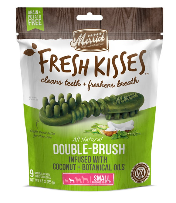 Merrick Fresh Kisses Double Brush Infused with Coconut & Botanical Oils For Small Dogs 5.5 Oz