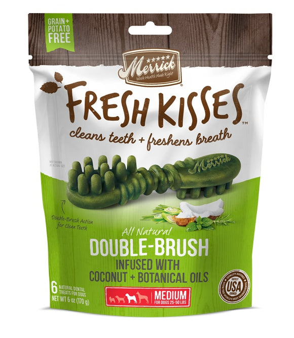 Merrick Fresh Kisses Double Brush Infused with Coconut & Botanical Oils For Medium Dogs 6 Oz