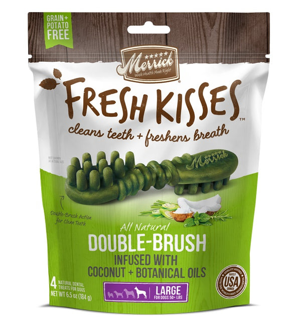 Merrick Fresh Kisses Double Brush Infused with Coconut & Botanical Oils For Large Dogs 6.5 Oz