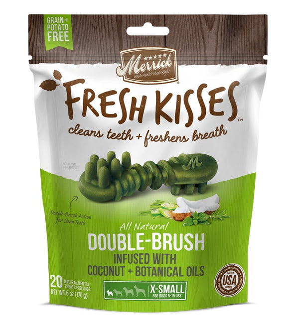 Merrick Fresh Kisses Double Brush Infused with Coconut & Botanical Oils For X-Small Dogs 10 Oz