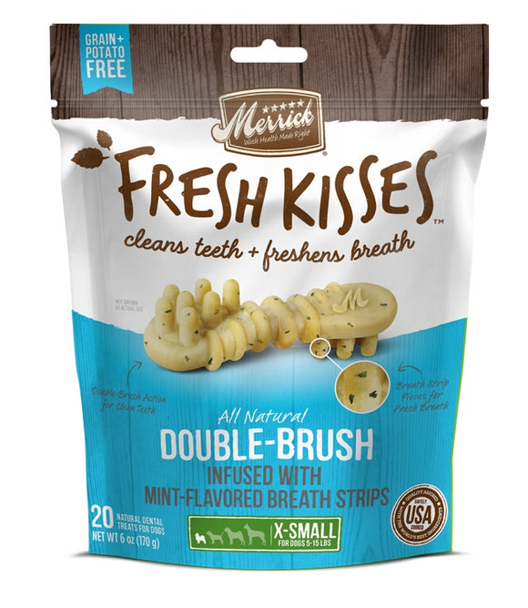 Merrick Fresh Kisses Double Brush Infused with Mint Breath Strips For X-Small Dogs 6 Oz