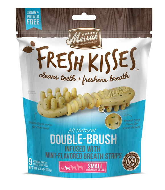 Merrick Fresh Kisses Double Brush Infused with Mint Breath Strips For Small Dogs 5.5 Oz