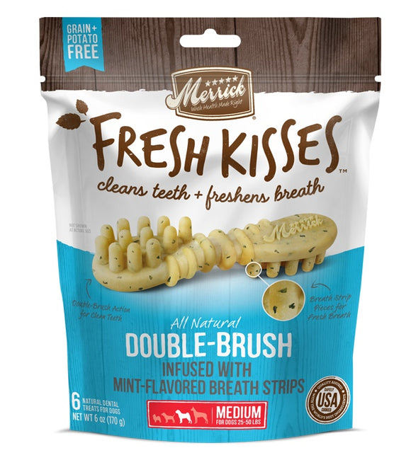 Merrick Fresh Kisses Double Brush Infused with Mint Breath Strips For Medium Dogs 6 Oz