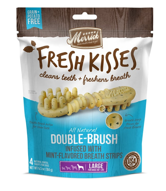 Merrick Fresh Kisses Double Brush Infused with Mint Breath Strips For Large Dogs 6.5 Oz