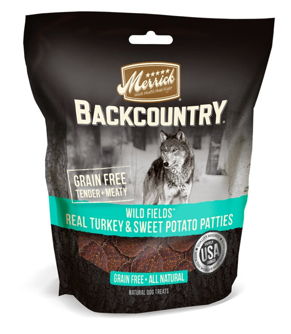 Merrick Backcountry Grain Free Wild Fields Real Turkey & Sweet Potato Patties Dog Treats 4 Oz
