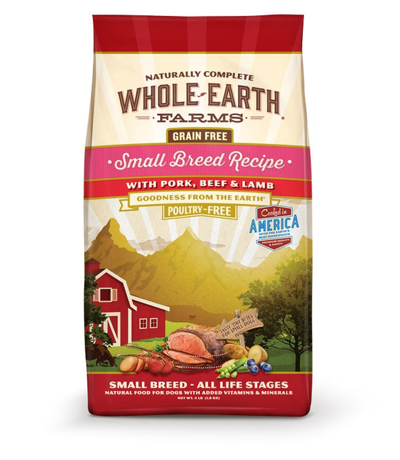 Whole Earth Farms Goodness from the Earth Grain Free Small Breed Recipe with Pork, Beef & Lamb Dog Food 4 Lbs