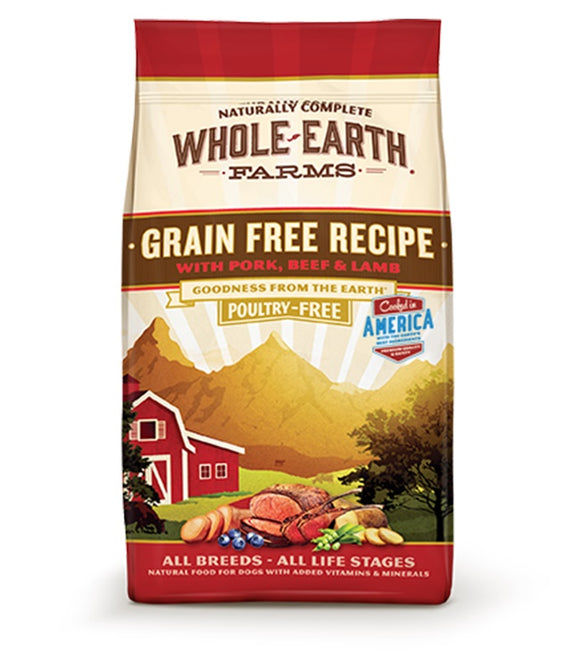 Whole Earth Farms Goodness from the Earth Grain Free Pork, Beef & Lamb Recipe Dog Food 12 Lbs