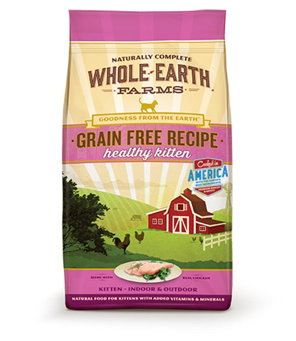 Whole Earth Farms Goodness from the Earth Grain Free Recipe Healthy Kitten Food 2.5 Lbs