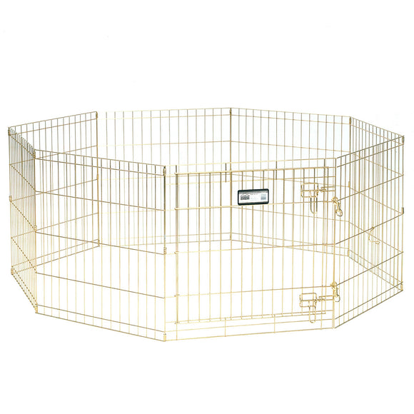 Mid West Gold Zinc Exercise Pen with Door for Dog 30 Inch