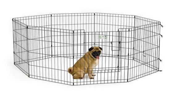 Mid West Exercise Pen with Door for Dog Black Color 24 Inch