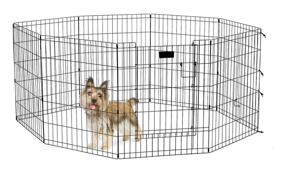 Mid West Exercise Pen with Door for Dog Black Color 30 Inch