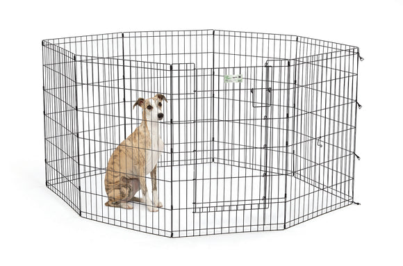 Mid West Exercise Pen with Door for Dog Black Color 36 Inch