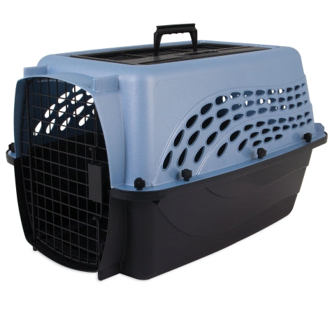 Petmate Two Door Top Load Kennel Pearl Ash Blue/Black Color Up to 15 Lbs Dogs