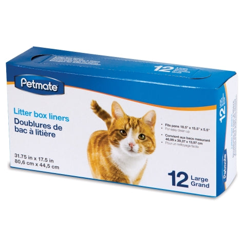 Petmate Litter Pan Liners Clear Color 12 Count Large