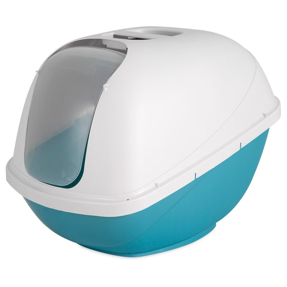 Petmate Basic Hooded Litter Pan For Cat Pearl Blue Color Large