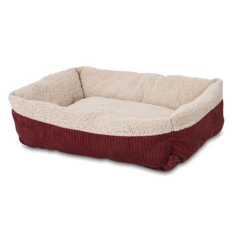 Aspen Pet Self Warming Rectangular Lounger Barn Red/Cream Color Medium