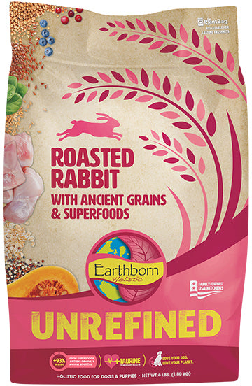 Earthborn Holistic Unrefined Roasted Rabbit with Ancient Grains & Superfoods for Dog 4 Lbs
