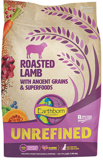Earthborn Holistic Unrefined Roasted Lamb with Ancient Grains & Superfoods for Dog 4 Lbs