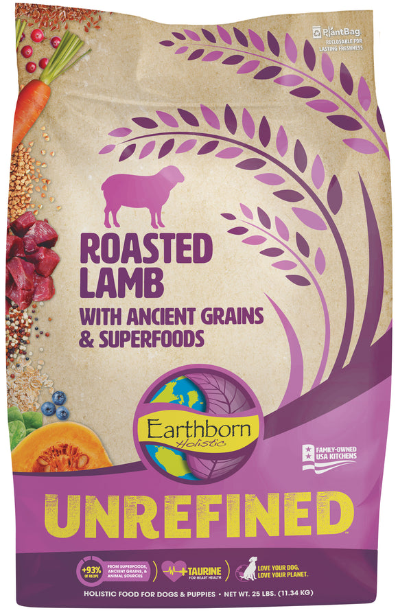 Earthborn Holistic Unrefined Roasted Lamb with Ancient Grains & Superfoods for Dog 25 Lbs