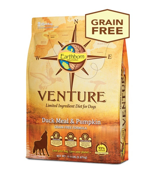Earthborn Holistic Venture Duck Meal & Pumpkin Grain Free Formula Dog Food 12.5 Lbs