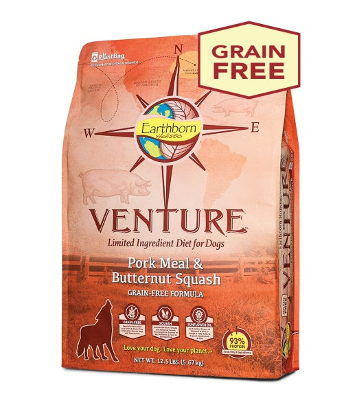 Earthborn Holistic Venture Pork Meal & Butternut Squash Grain Free Formula Dog Food 25 Lbs