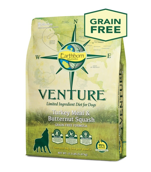Earthborn Holistic Venture Turkey Meal & Butternut Squash Grain Free Formula Dog Food 25 Lbs