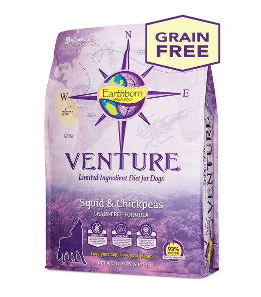Earthborn Holistic Venture Squid & Chickpeas Grain Free Formula Dog Food 25 Lbs