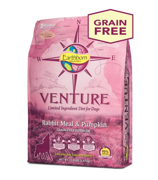 Earthborn Holistic Venture Rabbit Meal & Pumpkin Grain Free Formula Dog Food 12.5 Lbs