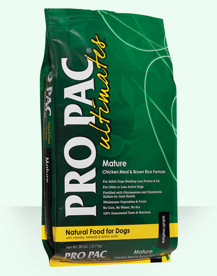 PRO PAC Ultimates Mature Chicken Meal & Brown Rice Formula Dog Food 28 Lbs