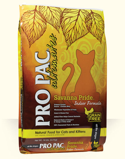 PRO PAC Ultimates Savanna Pride Indoor Formula Cat Food 14 Lbs