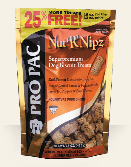 PRO PAC Nut'R'Nipz Grain Free Superpremium Dog Biscuit Treats 2 Lbs