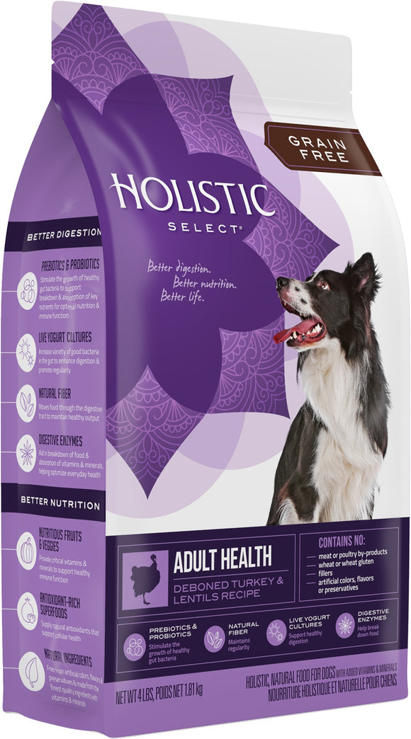 Holistic Select Grain Free Adult Health Deboned Turkey & Lentils Recipe Dog Food 4 Lbs