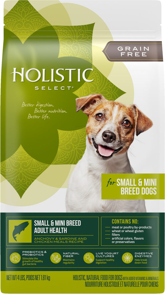 Holistic Select Grain Free Small & Mini Breed Adult Health Anchovy, Sardine & Chicken Meals Recipe Dog Food 4 Lbs