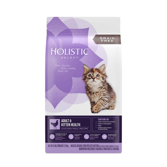 Holistic Select Grain Free Adult & Kitten Health Chicken Meal Recipe Cat Food 5 Lbs