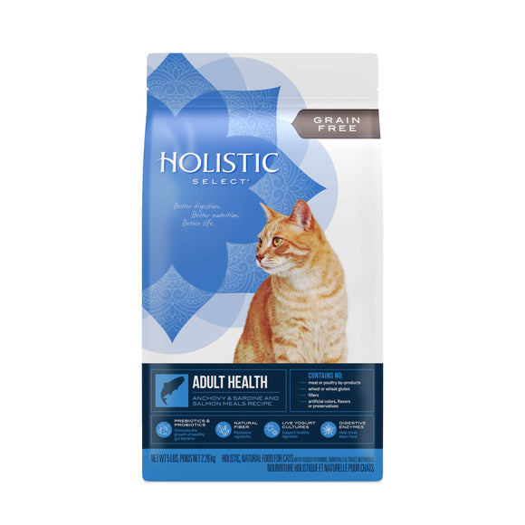 Holistic Select Grain Free Adult Health Anchovy & Sardine & Salmon Meals Recipe Cat Food 5 Lbs
