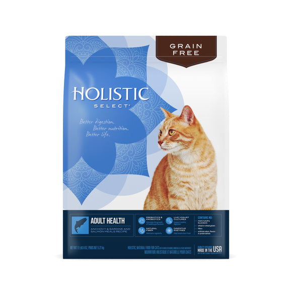 Holistic Select Grain Free Adult Health Anchovy & Sardine & Salmon Meals Recipe Cat Food 11.5 Lbs