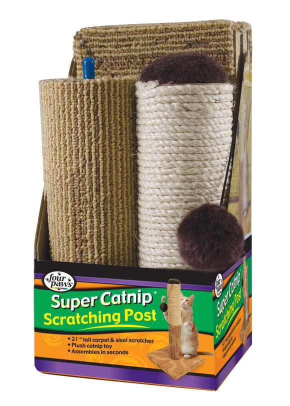 Four Paws Super Catnip Carpet & Sisal Scratching Post for Cat 21 Inch