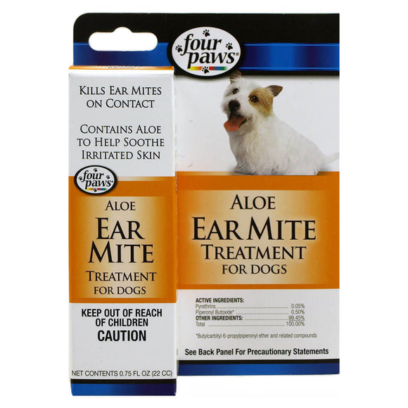 Four Paws Aloe Earmite Treatsment for Dog 0.75 Oz