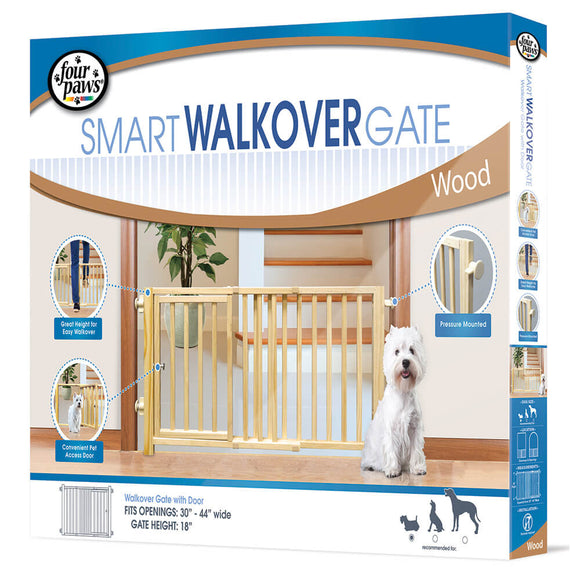 Four Paws Walkover Wood Gate with Door for Dog 30-44 X 18 Inch