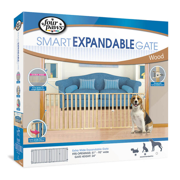 Four Paws Extra Wide Expandable Gate for Dog 51-93 X 24 Inch