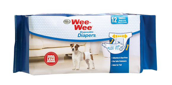 Four Paws Wee-Wee Disposable Dog Diapers Small X 12 Count