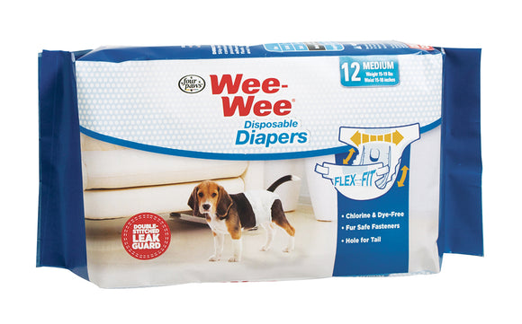 Four Paws Wee-Wee Disposable Dog Diapers Medium 12 Count