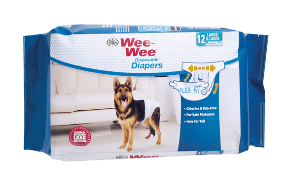 Four Paws Wee-Wee Disposable Dog Diapers Large X 12 Count